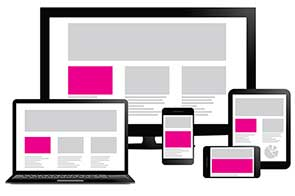 An illustration of responsive design - the same site shown on a variety of screen sizes